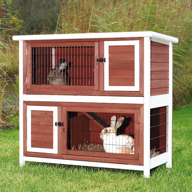 """Trixie Natura Two Story Animal Hutch in Brown & White, 45.5"""" L X 25.5"""" W X 43.5"""" H - Carousel image #1"""