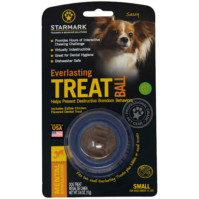 Starmark Treat Ball With Dental Treat in Blue, Small - Carousel image #1