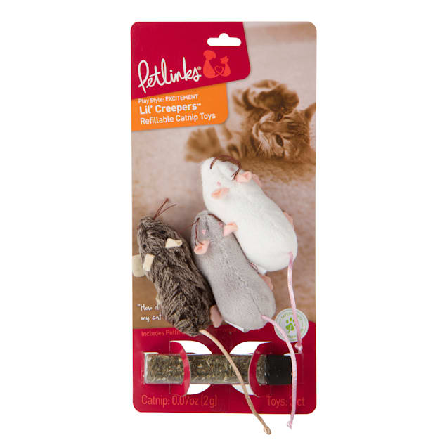 Petlinks Lil' Creepers with Catnip Cat Toys, Small, Pack of 3 - Carousel image #1