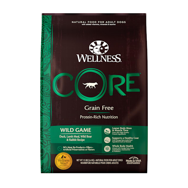 Wellness CORE Natural Grain Free Wild Game Duck, Turkey, Boar & Rabbit Dry Dog Food, 12 lbs. - Carousel image #1