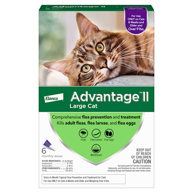 Advantage II Once-A-Month Cat & Kitten Topical Flea Treatment Over 9 lbs., Pack of 6 - Carousel image #1