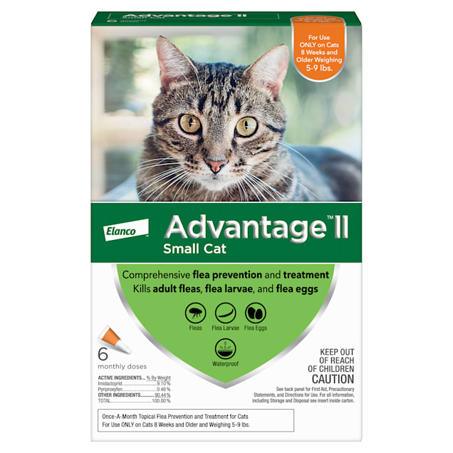 Advantage II Once-A-Month Cat & Kitten Topical Flea Treatment, 5 to 9 lbs., Pack of 6 - Carousel image #1