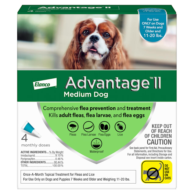 Advantage II Once-A-Month Topical Flea Treatment for Dogs & Puppies 11 to 20 lbs., Pack of 4 - Carousel image #1