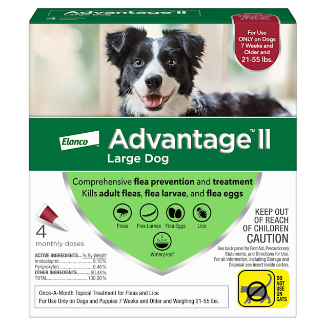 Advantage II Once-A-Month Topical Flea Treatment for Dogs & Puppies 21 to 55 lbs., Pack of 4 - Carousel image #1