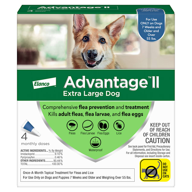 Advantage II Once-A-Month Topical Flea Treatment for Dogs & Puppies Over 55 lbs., Pack of 4 - Carousel image #1