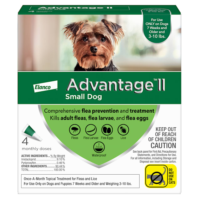 Advantage II Once-A-Month Topical Flea Treatment for Dogs & Puppies 3 to 10 lbs., Pack of 4 - Carousel image #1