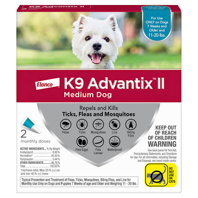 K9 Advantix II Topical Medium Dog Flea & Tick Treatment, Pack of 2 - Carousel image #1