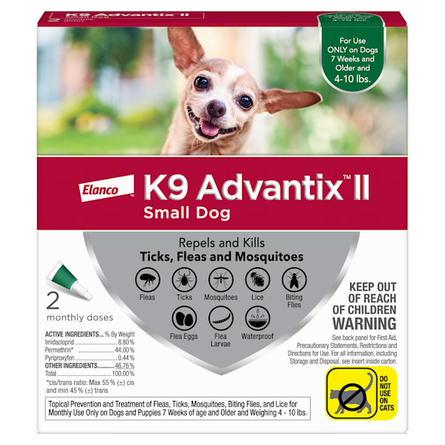 K9 Advantix II Topical Small Dog Flea & Tick Treatment, Pack of 2 - Carousel image #1