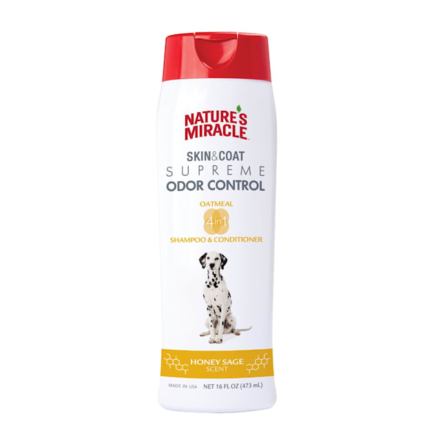 Nature's Miracle Supreme Odor Control Natural Oatmeal Dog Shampoo & Conditioner, 16 fl. oz. - Carousel image #1