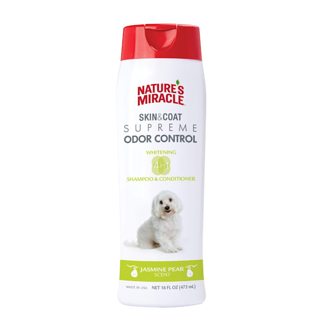 Nature's Miracle Supreme Odor Control Natural Whitening Dog Shampoo & Conditioner, 16 fl. oz. - Carousel image #1
