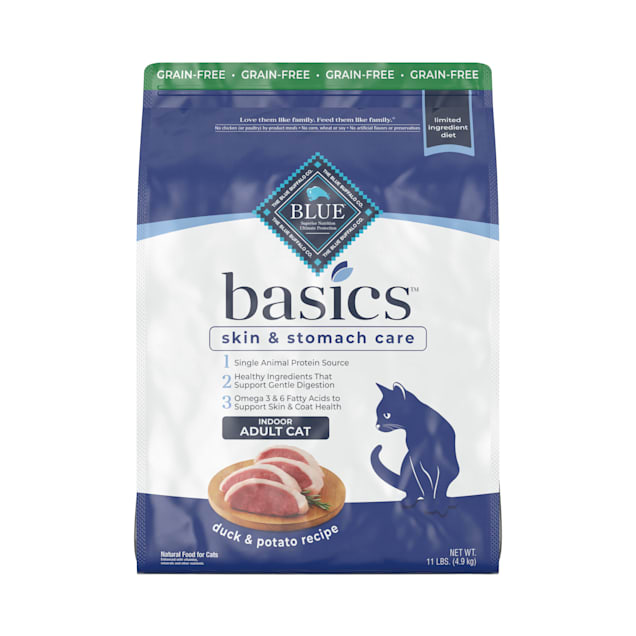 Blue Buffalo Blue Basics Limited Ingredient Grain Free Duck & Potato Indoor Adult Cat Food, 11 lbs. - Carousel image #1