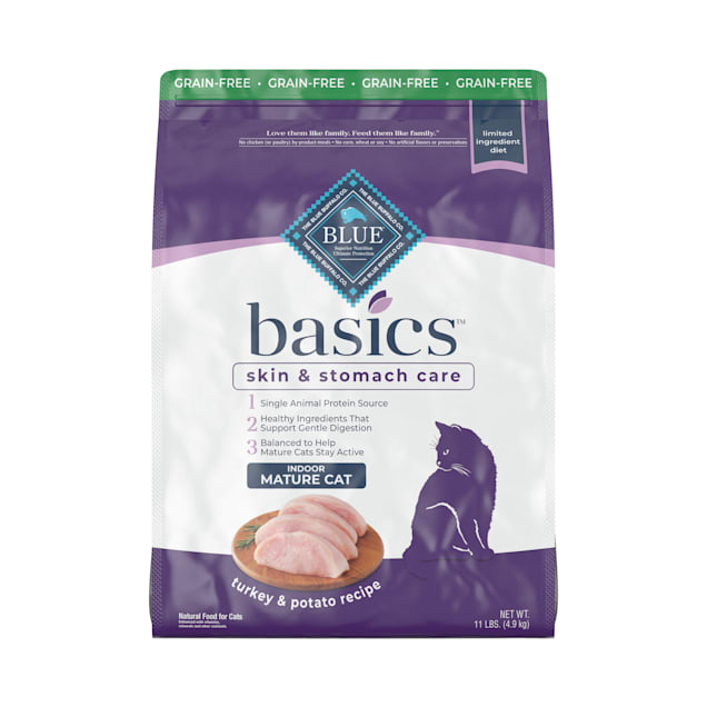Blue Buffalo Blue Basics Mature Grain-Free Turkey and Potato Recipe Dry Cat Food, 11 lbs. - Carousel image #1