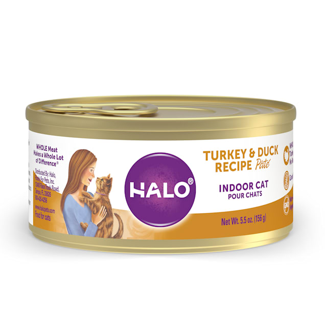 Halo Indoor Grain Free Turkey & Duck Recipe Pate Canned Cat Food, 5.5 oz., Case of 12 - Carousel image #1
