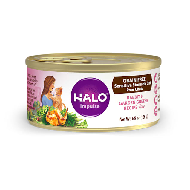 Halo Impulse Grain Free Rabbit & Garden Greens Canned Cat Food, 5.5 oz., Case of 12 - Carousel image #1
