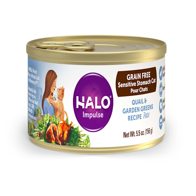 Halo Impulse Grain Free Quail & Garden Greens Canned Cat Food, 5.5 oz., Case of 12 - Carousel image #1
