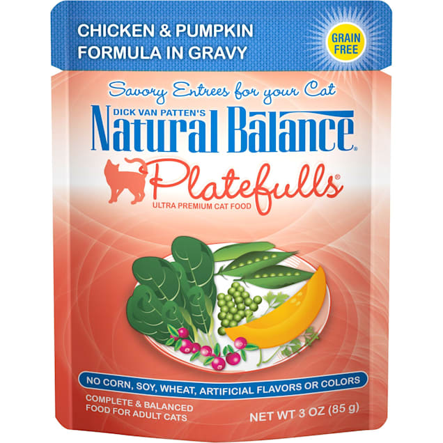 Natural Balance Platefulls Chicken & Pumpkin Formula in Gravy Adult Wet Cat Food, 3 oz., Case of 24 - Carousel image #1