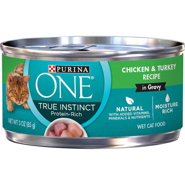 Purina ONE Natural True Instinct Chicken & Turkey Recipe in Gravy Wet Cat Food, 3 oz., Case of 24 - Carousel image #1