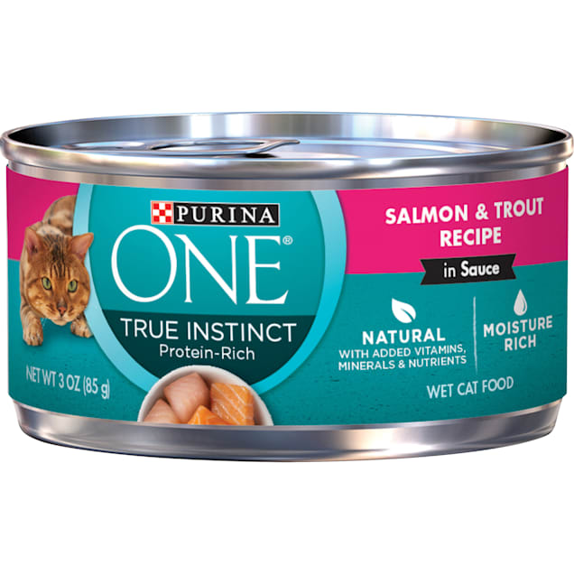 Purina ONE Natural High Protein True Instinct Salmon & Trout Recipe in Sauce Wet Cat Food, 3 oz., Case of 24 - Carousel image #1