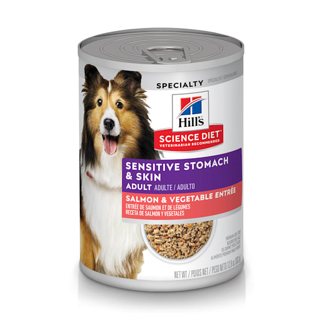 Hill's Science Diet Adult Sensitive Stomach & Skin Salmon & Vegetable Entree Canned Dog Food, 12.8 oz., Case of 12 - Carousel image #1