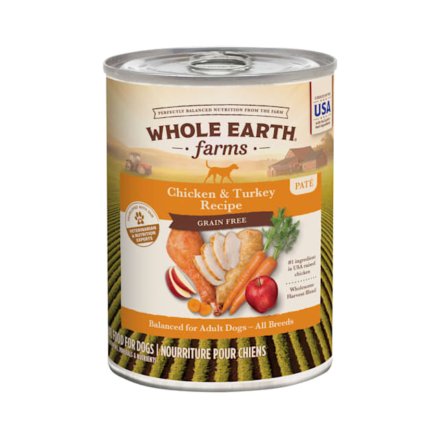 Whole Earth Farms Grain Free Canned Dog Food, Chicken & Turkey Recipe, 12.7 oz., Case of 12 - Carousel image #1