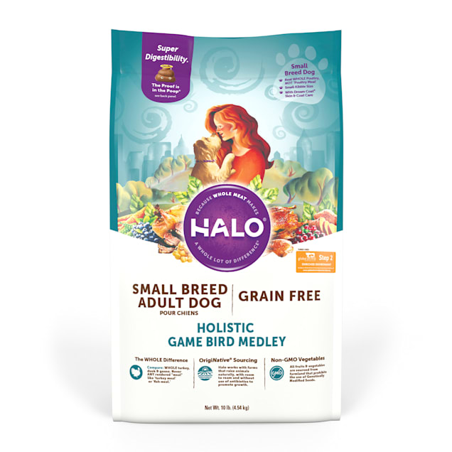 Halo Small Breed Holistic Game Bird Medley Dry Dog Food, 10 lbs. - Carousel image #1