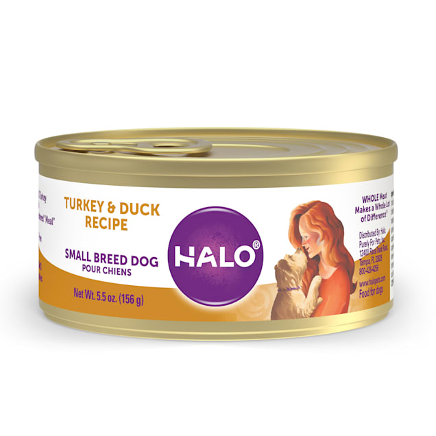 Halo Grain Free Turkey & Duck Small Breed Wet Dog Food, 5.5 oz., Case of 12 - Carousel image #1