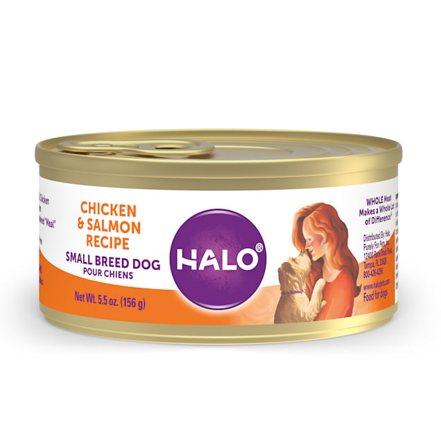 Halo Small Breed Holistic Chicken & Salmon Recipe Canned Dog Food, 5.5 oz., Case of 12 - Carousel image #1