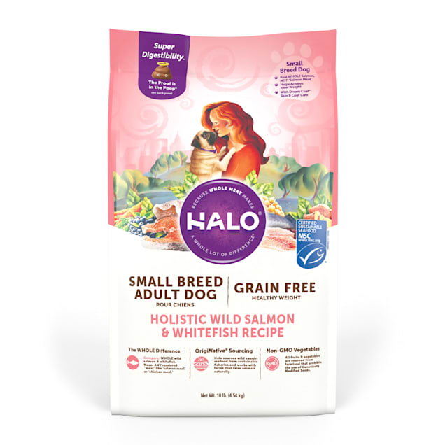 Halo Small Breed Holistic Grain Free Wild Salmon & Whitefish Dry Dog Food, 10 lbs. - Carousel image #1