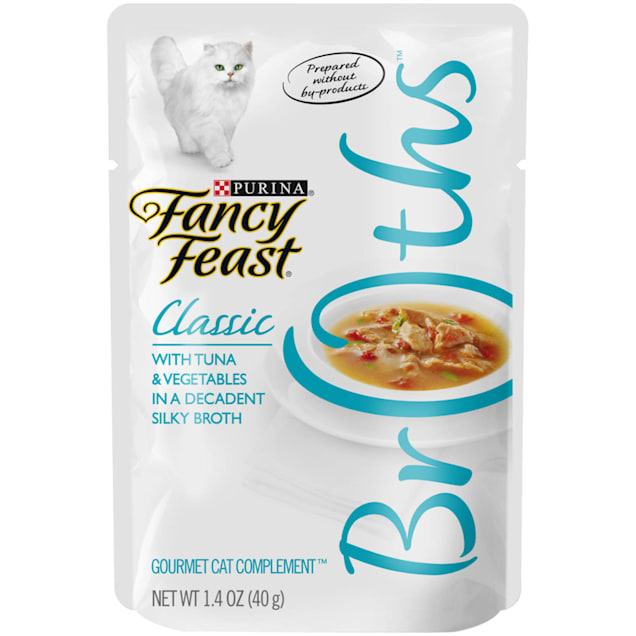 Fancy Feast Broths Classic Tuna & Vegetable Cat Food Complement, 1.4 oz., Case of 16 - Carousel image #1