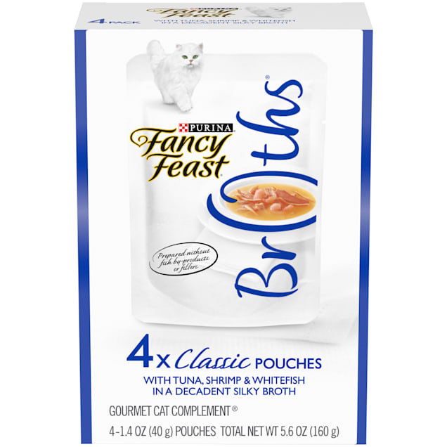 Purina Fancy Feast Broths With Tuna, Shrimp & Whitefish Wet Cat Food Complement Variety Pack, 1.4 oz., Count of 4 - Carousel image #1