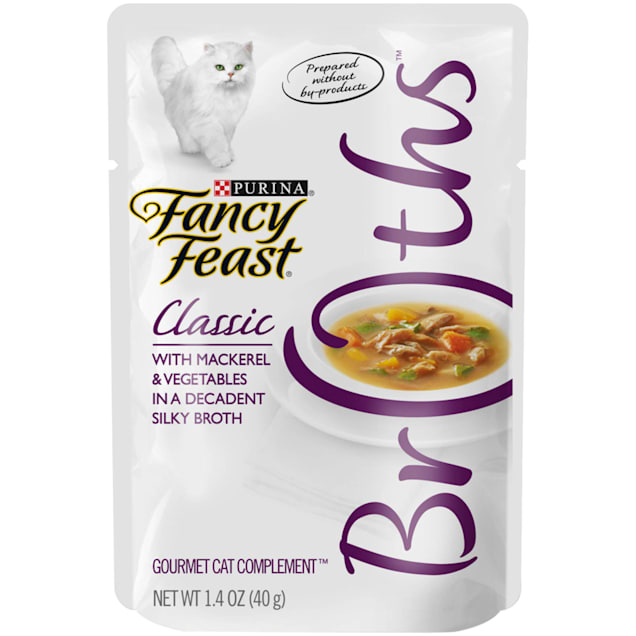 Fancy Feast Broths Classic With Mackerel & Vegetables Wet Cat Food Complement, 1.4 oz. - Carousel image #1