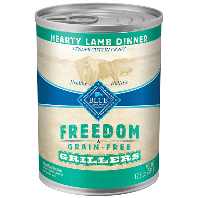 Blue Buffalo Blue Freedom Grain-Free Grillers Lamb Wet Dog Food, 12.5 oz., Case of 12 - Carousel image #1