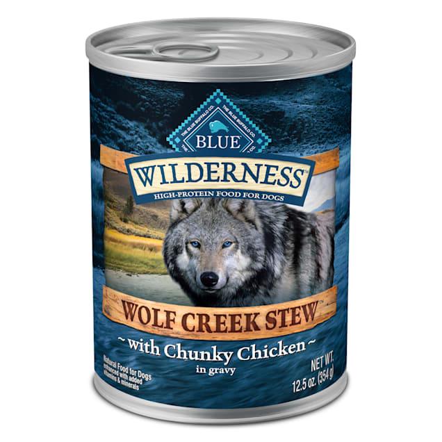 Blue Buffalo Blue Wilderness Wolf Creek Stew Chunky Chicken Stew Wet Dog Food, 12.5 oz., Case of 12 - Carousel image #1