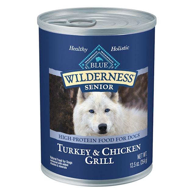 Blue Buffalo Blue Wilderness Senior Turkey & Chicken Grill Wet Dog Food, 12.5 oz., Case of 12 - Carousel image #1