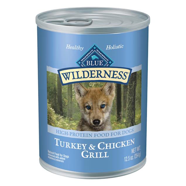 Blue Buffalo Blue Wilderness Puppy Turkey & Chicken Grill Wet Dog Food, 12.5 oz., Case of 12 - Carousel image #1