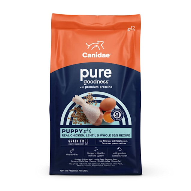 CANIDAE PURE Grain Free Limited Ingredient Real Chicken, Lentil & Whole Egg Dry Puppy Food, 24 lbs. - Carousel image #1