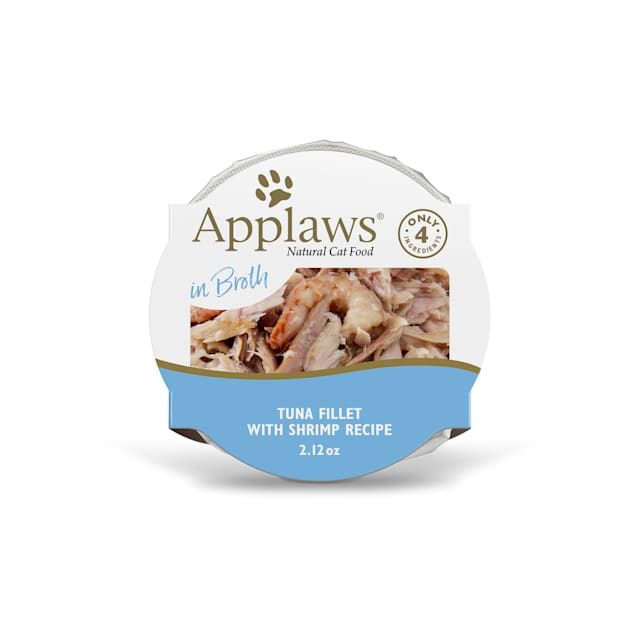 Applaws Natural Tuna Fillet with Prawn in Broth Wet Cat Food, 2.12 oz., Case of 18 - Carousel image #1