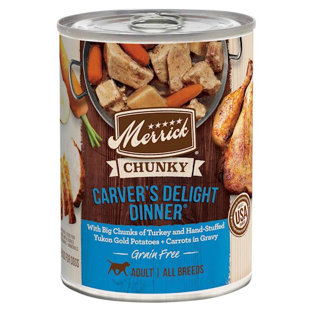 Merrick Chunky Grain Free Carver's Delight Dinner Wet Dog Food, 12.7 oz., Case of 12 - Carousel image #1
