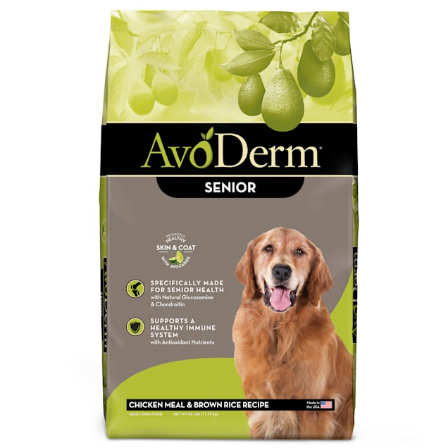 AvoDerm Natural Senior Chicken Meal & Brown Rice Recipe Dry Dog Food, 26 lbs. - Carousel image #1