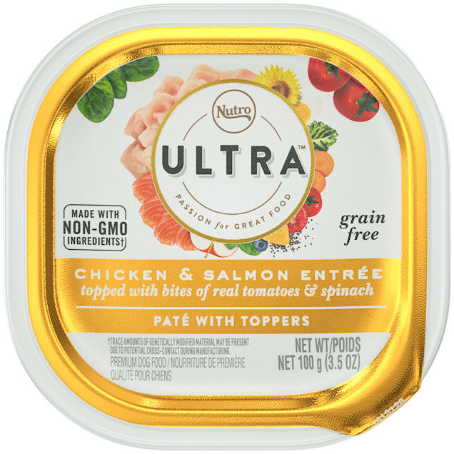 Nutro Ultra Grain Free Pate Chicken & Salmon Entree with Bites of Tomatoes & Spinach Adult Wet Dog Food, 3.5 oz., Case of 24 - Carousel image #1