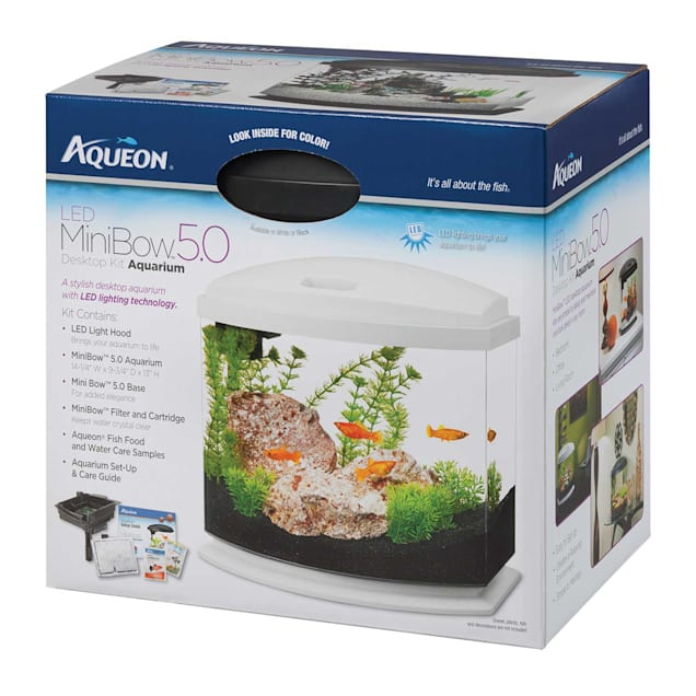 Aqueon 5 Gallon MiniBow LED Desktop Fish Aquarium Kit, White - Carousel image #1