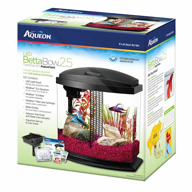 Aqueon 2.5 Gallon BettaBow LED Desktop Fish Aquarium Kit, Black - Carousel image #1