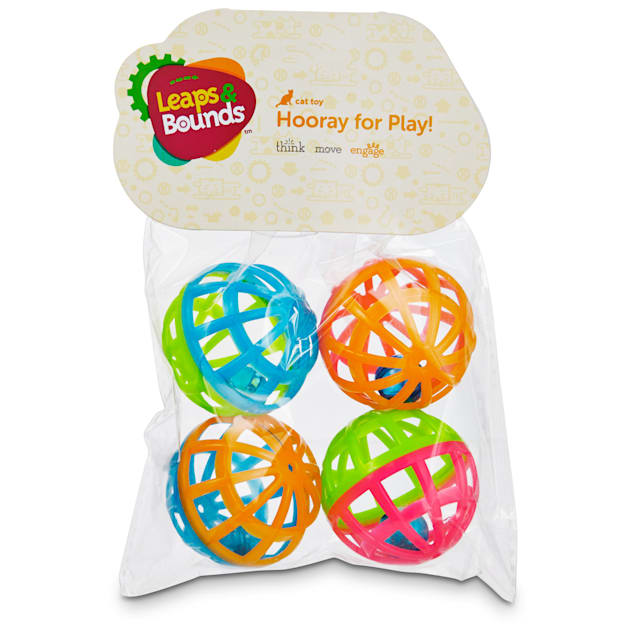 Leaps & Bounds Lattice Ball and Bell Cat Toys, Pack of 4 balls - Carousel image #1
