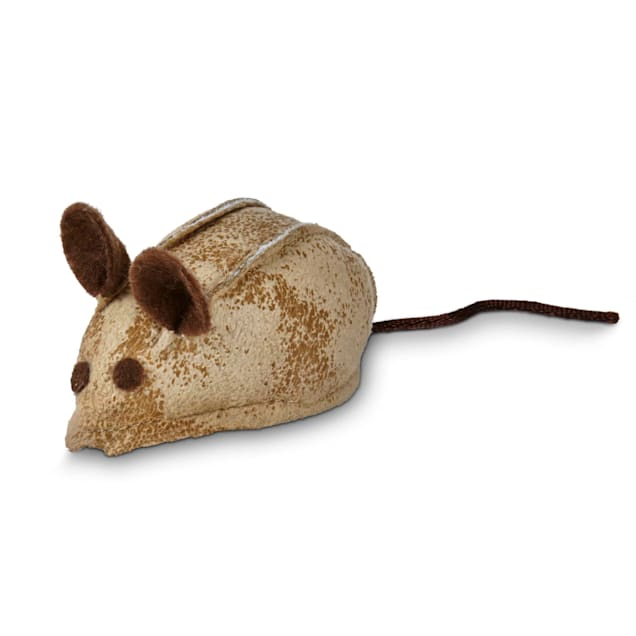 "Leaps & Bounds Faux Leather Mouse Cat Toy with Rattle & Catnip , 3"" L X 1.5"" W - Carousel image #1"