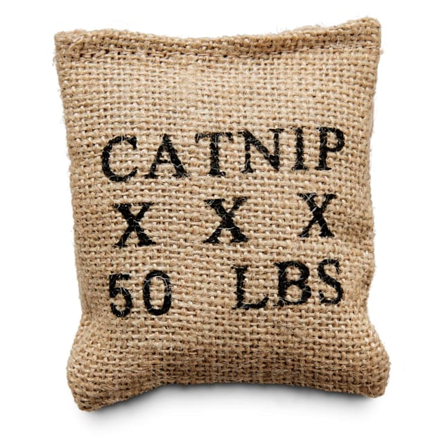"Leaps & Bounds Burlap Bag Catnip Cat Toy, 4"" L X 3"" W - Carousel image #1"