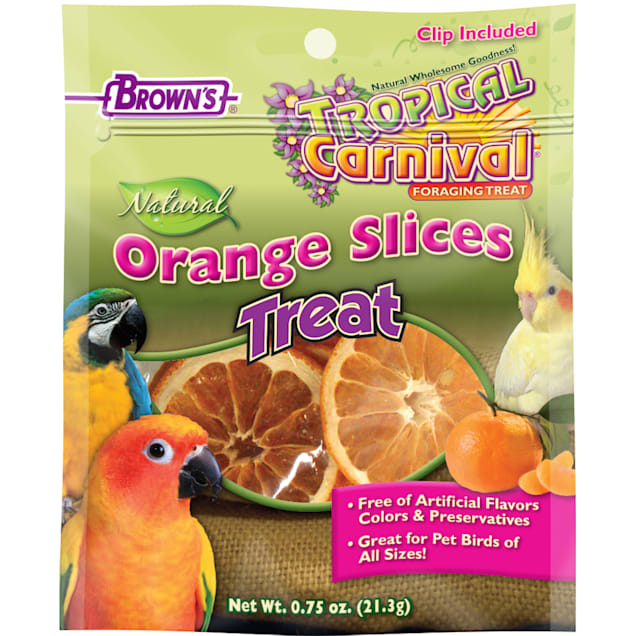 Brown's Tropical Carnival Orange Slices Bird Treats, .75 oz. - Carousel image #1