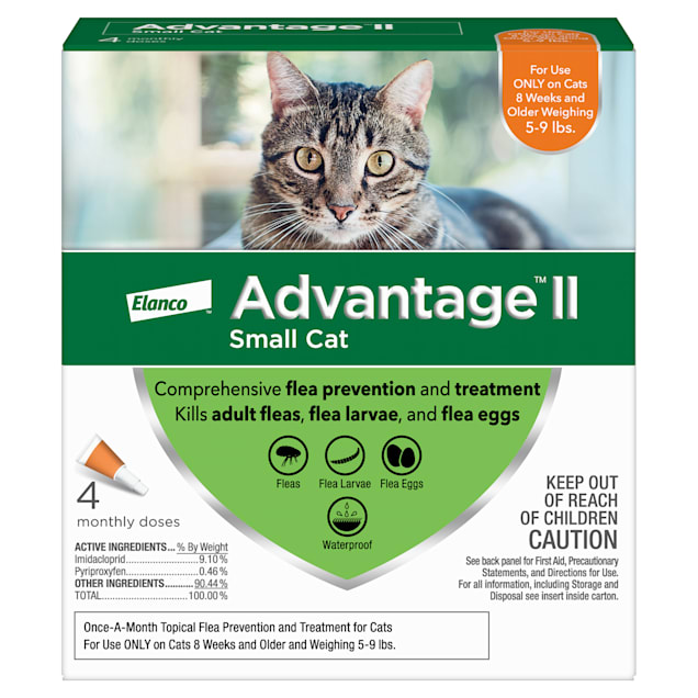 Advantage II Once-A-Month Cat & Kitten Topical Flea Treatment, 5 to 9 lbs., Pack of 2 - Carousel image #1