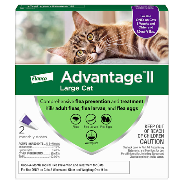 Advantage II Once-A-Month Cat & Kitten Topical Flea Treatment Over 9 lbs., Pack of 2 - Carousel image #1