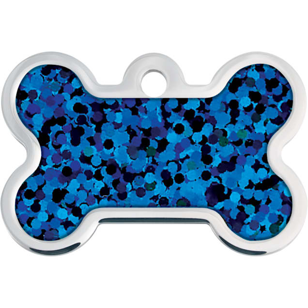 Quick-Tag Large Blue Hologram Bone Personalized Engraved Pet ID Tag - Carousel image #1