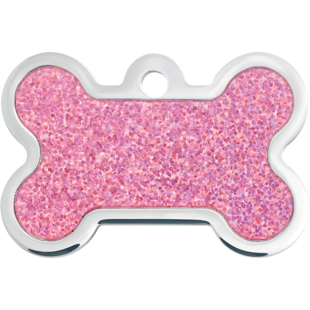 Quick-Tag Large Pink Hologram Bone Personalized Engraved Pet ID Tag - Carousel image #1